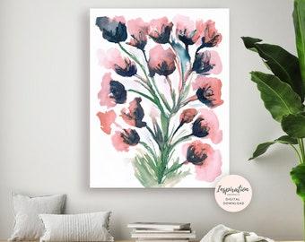 Large Watercolour Painting, Floral Wall Art, 18x24 Art Print, Pink Navy Wall Art, Printable Art, Large Flower Print, Modern Art