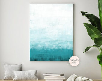 Ombre Wall Art, Teal Painting, Minimal Abstract Painting, Beach House Art, Serene Wall Art, Printable Art, Living Room Art, Acrylic Painting