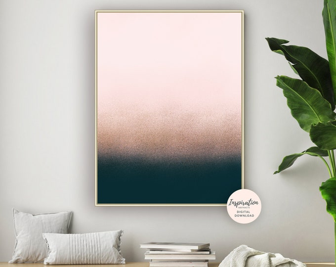 Pink Navy Wall Art, Minimalist Print, Ombre Wall Art, Printable Art, Bedroom Decor, 18x24 Art Print, Modern Wall Art,  Living Room Art