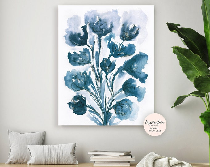 Floral Wall Art, Watercolour Painting, Flower Art, Floral Wall Art, Navy Blue Wall Art, Printable Art, Modern Wall Art, Living Room Decor
