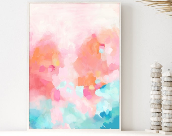 Colourful Abstract Painting, Modern Wall Art, Giclee Print or Canvas Wall Art, Kids Room Art, Nursery Wall Art, Oil Painting, Abstract Art