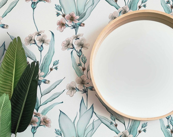 Delilah Floral Wallpaper, Tropical Wallpaper, Removable Peel and Stick Wallpaper, Coastal Wallpaper, Nursery Wallpaper, Handmade Wallpaper