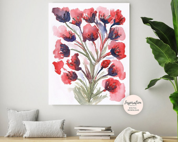 Floral Art Print, Watercolour Painting, Flower Art, Floral Wall Art, Printable Art, Large Flower Print, Living Room Decor, Red Poppies Art