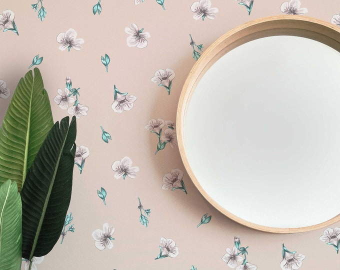 Simple Floral Wallpaper, Botanical Wallpaper, Peel and Stick Wallpaper, Bedroom Decor, Flower Wallpaper, Nursery Wallpaper, Boho Wall Decor