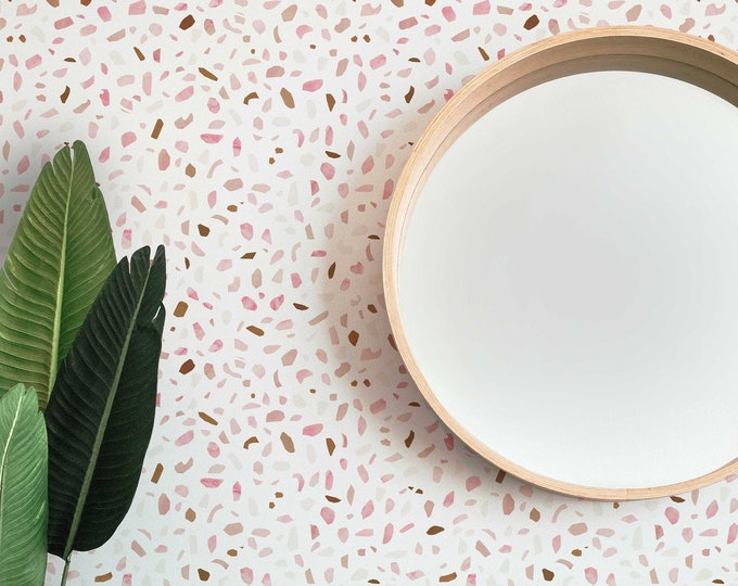 Pink Terrazzo Wallpaper, Abstract Wallpaper, Removable Wallpaper, Feminine Wallpaper, Peel and Stick Wallpaper, Office Decor