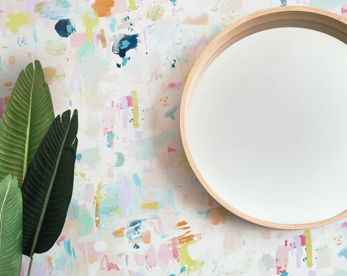 Colourful Paint Strokes Wallpaper, Abstract Wallpaper, Kids Wallpaper, Hand Painted Wallpaper, Removable Wallpaper, Nursery Wallpaper