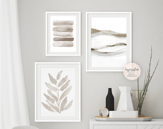 Minimal Beige Gallery Wall Set, 3 Piece Wall Art, Printable Art, Minimalist Print Set, Botanical  Print, Zen Wall Art,  Large Wall Art