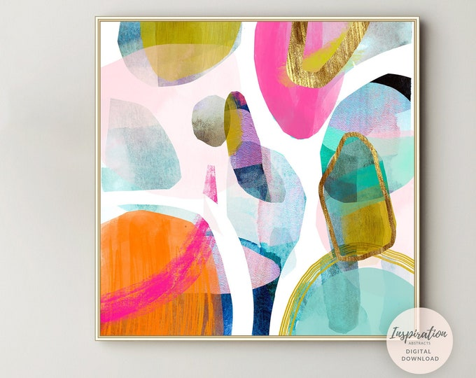 Large Wall Art, Colourful Abstract Painting, 30x30 Wall Art, Abstract Painting, Printable Art, Digital Prints, Mixed Media Art, Modern Art