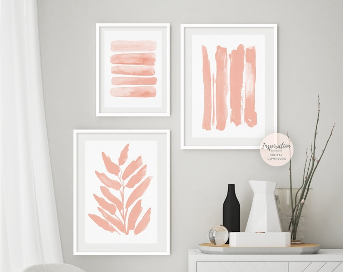 Blush Pink Gallery Wall Set, 3 Piece Wall Art, Printable Art, Nursery Wall Art, Bedroom Print Set, Blush Pink Wall Art, Large Wall Art