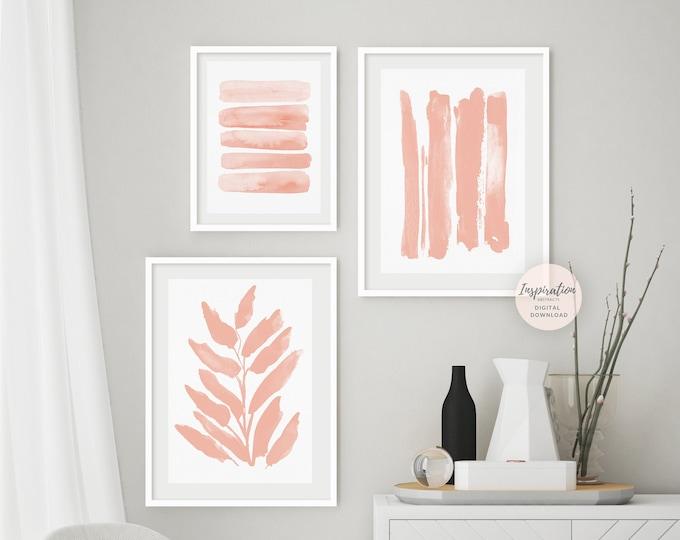 Blush Pink Gallery Wall Set, 3 Piece Wall Art, Printable Art, Nursery Wall Art, Nursery Print Set, Blush Pink Wall Art, Large Wall Art