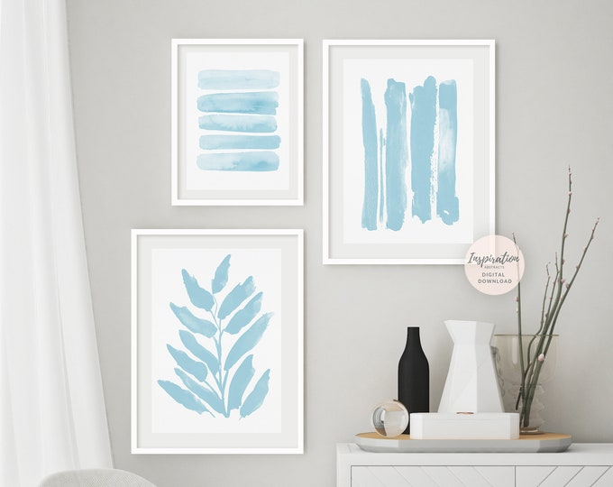Pale Blue Gallery Wall Set, 3 Piece Wall Art, Printable Art, Minimalist Print Set, Coastal Decor, Zen Wall Art, Large Wall Art, Calming Art