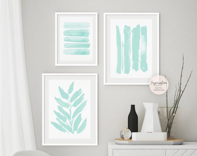 Pale Mint Gallery Wall Set, Nursery Prints, Printable Art, Modern Wall Art, Coastal Wall Art, Zen Wall Art, Large Wall Art