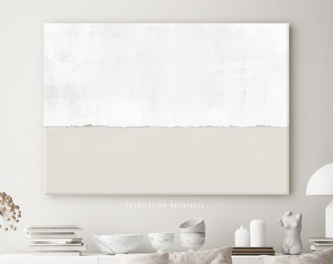 Minimal Beige And White Canvas Wall Art, Large Abstract Painting, Oversized Wall Art, Modern Art, Abstract Art, Rothko Inspired, Large Art