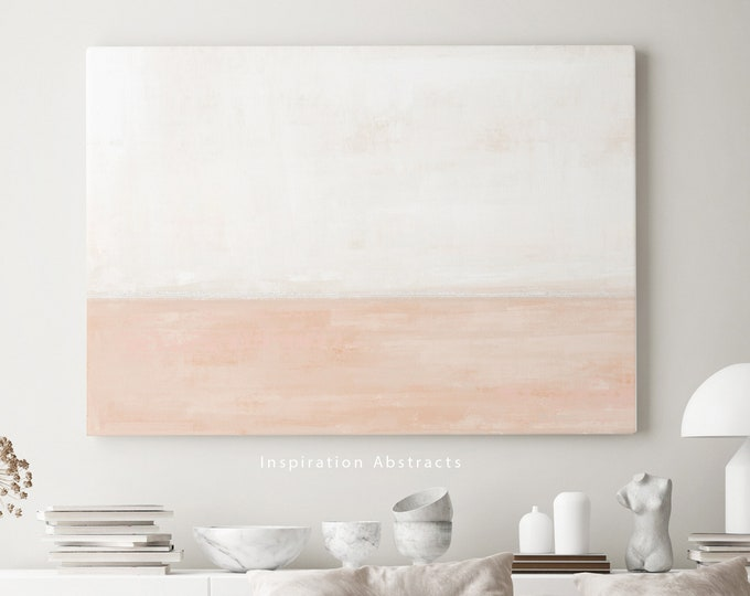 Minimal Cream And Blush Canvas Art, Pastel Wall Art, Large Abstract Painting, Coastal Wall Art, Modern Art, Abstract Art, Rothko Inspired