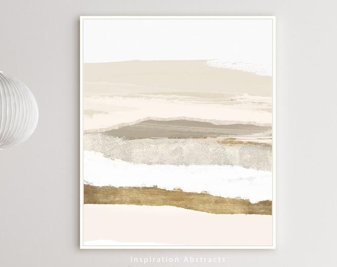 Neutral Landscape Painting, Zen Wall Art, Large Minimal Art, Beige White and Gold Art Print, Abstract Art, Modern Wall Art