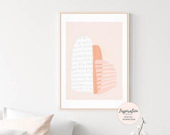 Modern Abstract Art, Geometric Print, Blush Pink and Burnt Orange Abstract Art, Minimal Painting, Large Wall Art