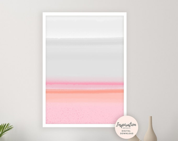 Serene Pink and Grey Abstract Art, Large Printable Minimalist Painting