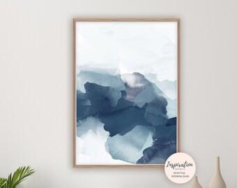 Navy Blue Watercolour Print, Mixed Media Abstract, Printable Art, Digital Prints, Modern Wall Art, Navy Wall Art, 16x20 Art Print, Blue Art