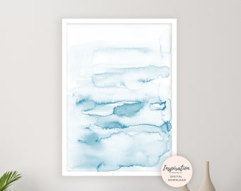 Blue Watercolour Painting, Beach House Art, Printable Art, Bedroom Art, Calming Wall Art, Minimalist Print, Abstract Wall Art, Serene Art
