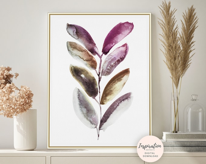 Purple Leaves Print, Watercolour Painting, Plant Prints, Leaf Poster, Purple Wall Art, Botanical Print, Minimal Art, Printable Art, Boho Art