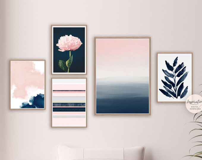 Minimal Gallery Wall Set, Pink Navy Wall Art, 5 Piece Wall Art, Printable Art, Minimalist Print Set, Botanical Prints, Bedroom Decor