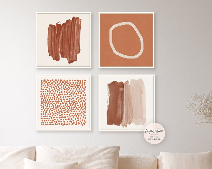 Abstract Gallery Wall Art, Set Of 4 Prints, Burnt Orange Wall Art, Instant Download, Earth Tone Art, Minimalist Gallery Wall