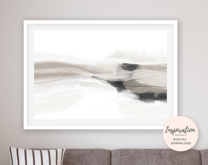 Large Abstract Print, Horizontal Wall Art, 50x70 Art Print, Neutral Mixed Media Art, Modern Art Print, Living Room Art, Oversized Art