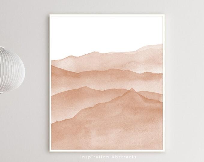 Blush Pink Watercolour Painting, Mountain Wall Art, Minimalist Art, Nursery Print, Abstract Art, Bedroom Wall Art, Zen Wall Art