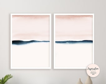 Blush Pink and Navy Watercolour Prints, Set of 2 Prints, Minimalist Art, Abstract Art, Bedroom Wall Art, Calming Wall Art