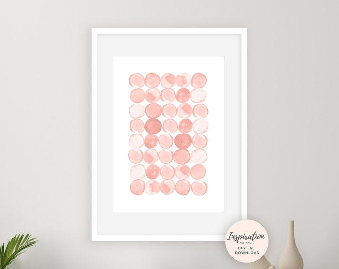 Blush Pink Wall Art, Circles Print, Minimalist Art, Nursery Art, Abstract Art, Watercolour Wall Art, Printable Art, Bedroom Decor