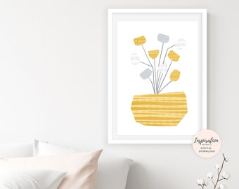 Yellow Flower Collage, Large Flower Print, Scandinavian Print, Abstract Botanical Print, Cheerful Wall Art, Calming Wall Art