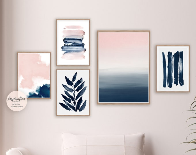 Abstract Gallery Wall Set, Pink Navy Wall Art, 5 Piece Wall Art, Brushstroke Prints, Printable Art, Minimalist Print Set, Bedroom Decor