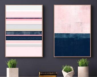 Pink Navy Wall Art, Set of 2 Prints, Abstract Art, Minimalist Print Set, Digital Download, Printable Art, Modern Wall Art, 24x36 Art Prints