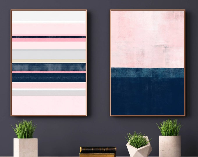 Pink Navy Wall Art, Set of 2 Prints, Abstract Art, Minimalist Print Set, Digital Download, Printable Art, Modern Wall Art, 24x36 Art Prints