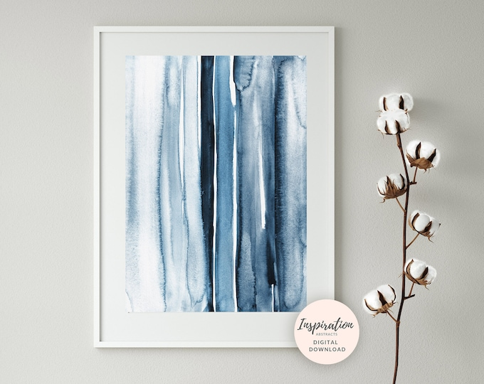 Featured listing image: Modern Watercolour Painting, Minimal Watercolor, Zen Wall Art, Printable Art, Abstract Art, Blue Painting, Extra Large Wall Art