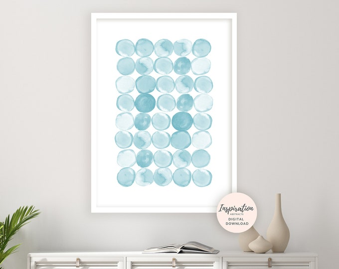 Watercolour Circles Print, Printable Art, Abstract Art, Coastal Wall Art, Minimalist Art, Nursery Prints, Light Blue Painting, Zen Wall Art
