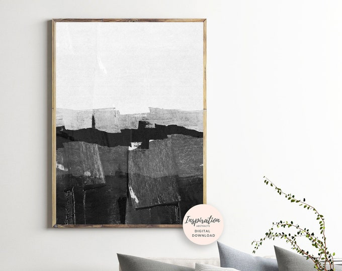Monochrome Print, Black and White, Minimalist Painting, Printable Painting, Scandinavian Modern, Minimalist Art