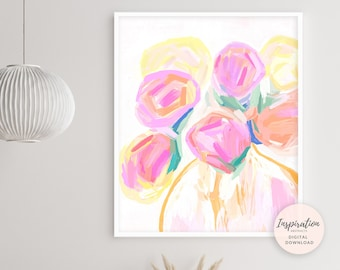Flower Painting, Botanical Wall Art, Printable Art, Nursery Wall Art, Flowers in Vases, Abstract Art, Apartment Decor, Acrylic Painting