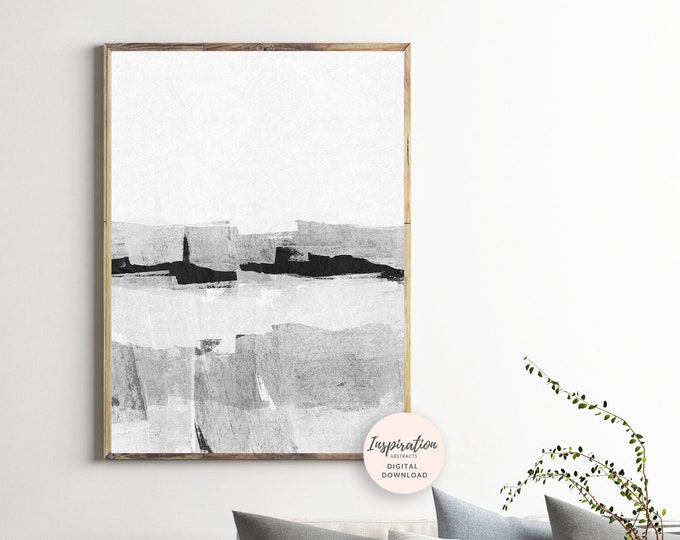 Minimal Art Print, Black and White Art, Vertical Wall Art, Abstract Painting, Printable Painting, Scandinavian Modern, Large Art Print