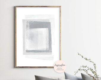 Grey and White Abstract Art, Minimal Mixed Media Art, Printable Abstract Art, Minimalist Print, Oversized Wall Art, Printable Painting