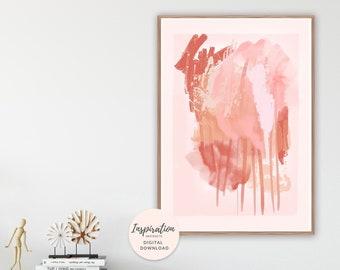 Mixed Media Painting, Burnt Orange Print, Abstract Art, Large Wall Art, Printable Wall Art, Acrylic Painting,  Earth Tones