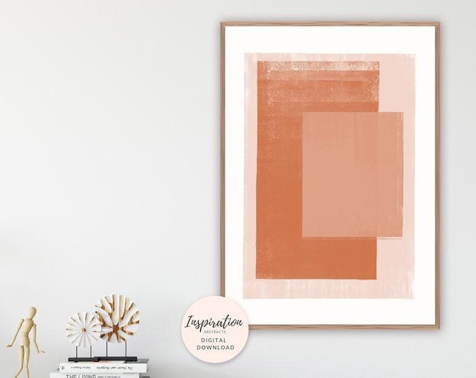 Burnt Orange Print, Minimal Abstract Art, Minimal Painting, Earth Tones, Geometric Art, Large Wall Art, Printable Wall Art
