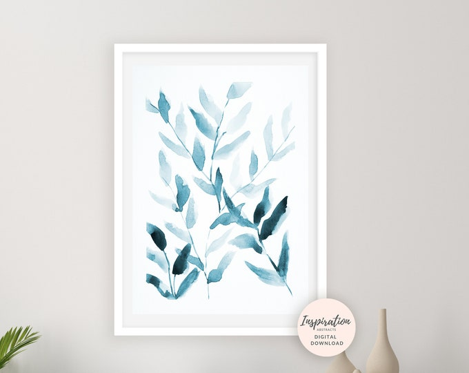 Blue Leaves Print, Watercolour Painting, Plant Prints, Leaf Poster, Blue Wall Art, Botanical Print, Modern Art, Minimal Art, Printable Art