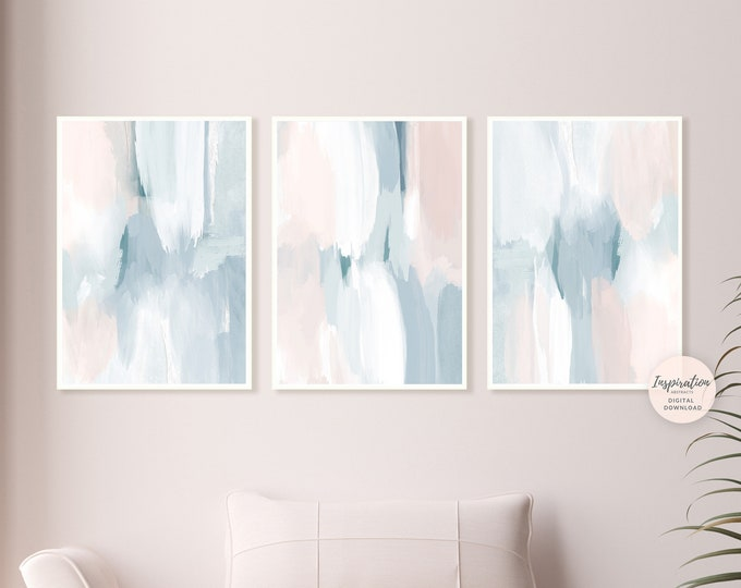 Set of Three Abstract Paintings, Printable Art, 3 Piece Wall Art, Serene Wall Art, Modern Art, Nursery Prints, Bedroom Wall Art, Nursery Art