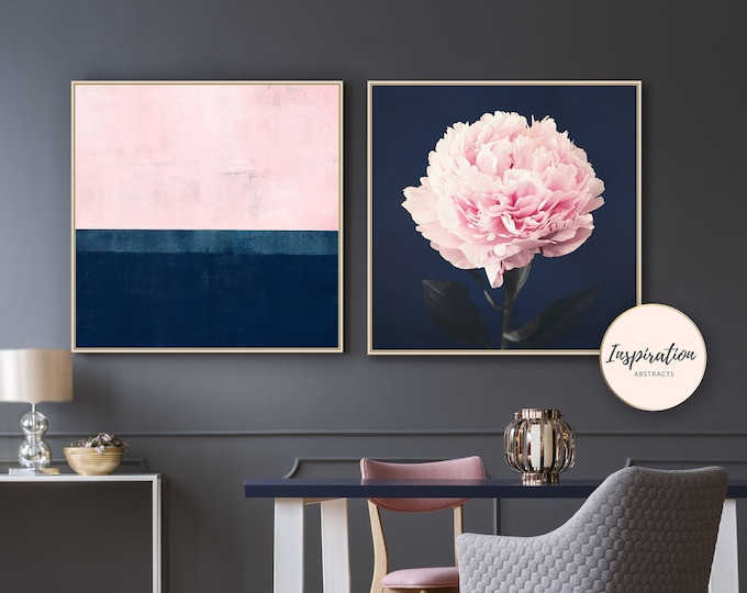 Set of Two Prints, Pink and Navy Peony Print,  Large Abstract Print, Pink Navy Wall Art, Peony Wall Art, Oversized Wall Art