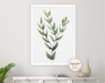 Leaves Print, Greenery Art, Watercolour Painting, Botanical Wall Art, Modern Art, Printable Art, Leaves Painting, Green Wall Art