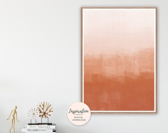 Minimal Painting, Burnt Orange Abstract Art, Rust Colour, Terracotta Print, Large Wall Art, Printable Art, Ombre Wall Print, Earth Tones