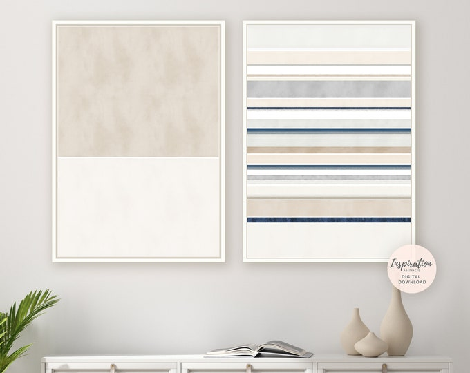 Set of 2 Cream Blue Abstract Paintings, Printable Art, Contemporary Art, Minimalist Wall Art, Abstract Art, Large Wall Art, Rothko Inspired