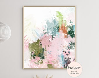 Colourful Abstract Art, Abstract Botanical Print, Living Room Painting, Mixed Media Art, Printable Wall Art, Large Abstract Print