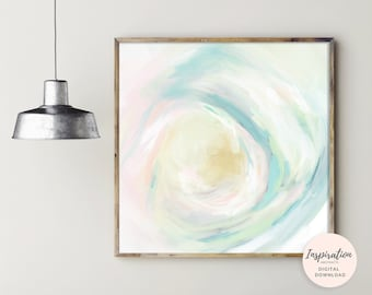 Happy Wall Art, Printable Painting, Abstract Nursery Decor, Affordable Art, Colourful Oil Painting, 20X20 Art Print